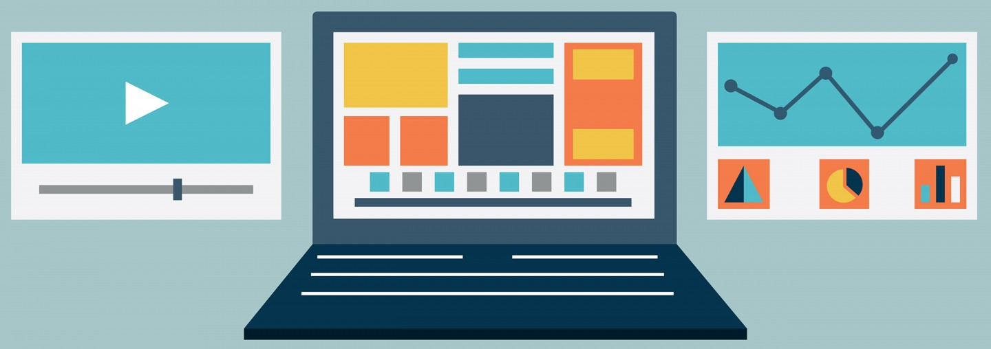 Vector flat illustration of laptop content rendering page - vector illustration